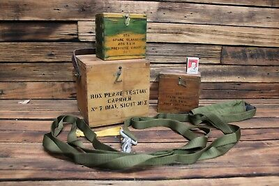 Vintage Military Boxes Dial Sight Spare Glasses Pressure Gauge MK 1 WW2