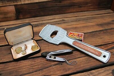 Vintage Carlton Draught CUB Victoria Bitter Fosters Cuff Links Bottle Opener