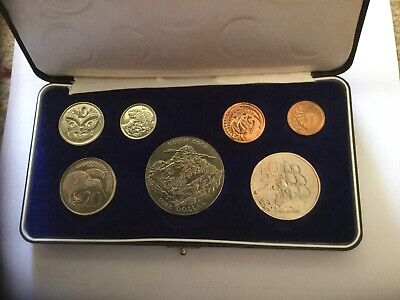 1970 New Zealand Boxed Proof Coin Set Mt Cook Crown Sz $1 Free Au Post