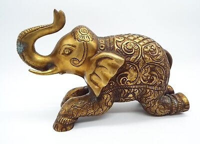 "Vintage BIG solid Brass Heavy Elephant Sculpture Statue Figure 5lb 9.5"" India"