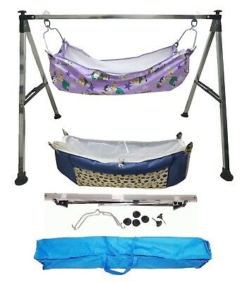 Smart Baby Products Folding Baby Cradle Steel Squire Pipe with two hammocks