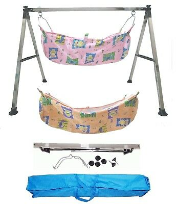 Smart Baby Products Folding Baby Cradle Steel with two units of cotton hammocks