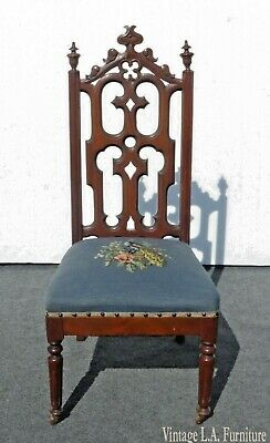Antique Victorian Blue Floral Needlepoint Alter Accent Chair ~ French Provincial