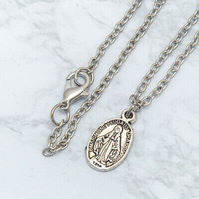 Dainty Miraculous Medal Charm Pendant Necklace Antique Silver 24 Inch Chain