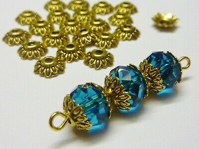 100 pce Metal Antique Gold Etched Flower Bead Caps 8mm Jewellery Making Craft