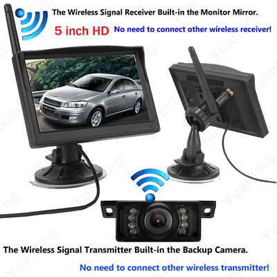 5'' Wireless Car Rear View System Cup Suction Monitor+LED IR Reverse Camera Kit