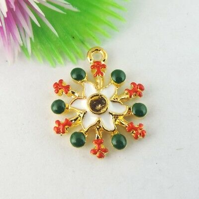 Xmas Jewelry Crafts Colorful Enamel Alloy Snowflake Look Pendants Findings 10pcs
