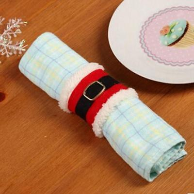 Christmas Santa Towel Napkin Rings Serviette Holder Table Dinner Party WL