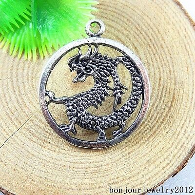 51176 Antique Silver Alloy Chinese Dragon Charms Pendant Jewelry Accessories 4x