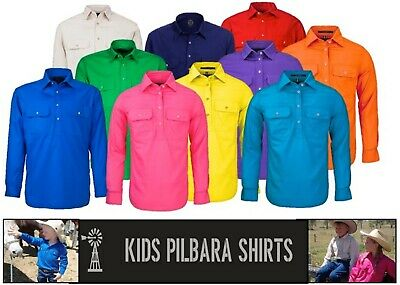 Ritemate Pilbara Closed Front Long Sleeve *Kids* Work / Dress  Shirt - Rm400Cf