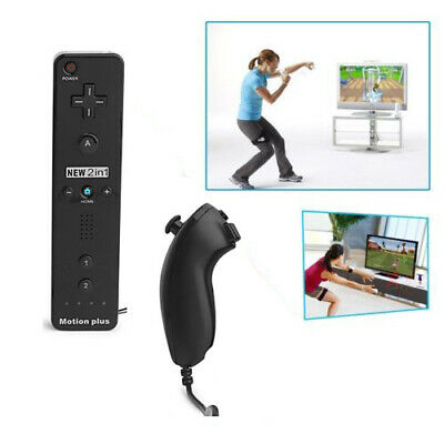 2in1 Nintendo Wii Motion Plus Remote Nunchuck Controller with Silicon Case Strap