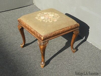 Vintage French Country Bench Ottoman w Sage Green Needlepoint Fabric