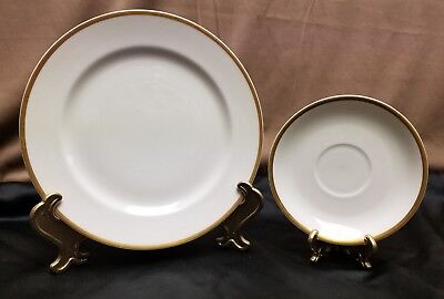 "Vtg HAVILAND LIMOGES France 1 8-3/4"" Luncheon Plate 1 Saucer CLASSIC GOLD RIM"