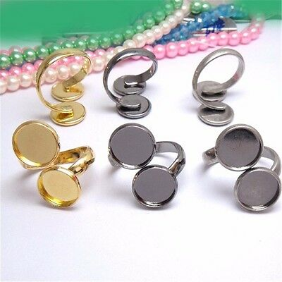 Unisex Brass Adjustable Rings Double Base Tray Setting For Jewelry Making
