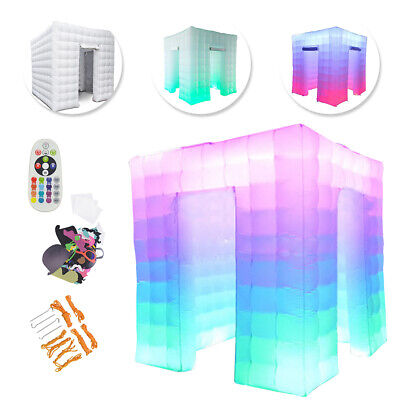 2 Door 2.5M 110V Inflatable LED Light Photo Booth Tent Party Birthday Wedding