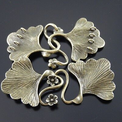 4pcs Antique Style Bronze Tone Brass Fashion Leaf Charm Clasp Finding 29*26 mm