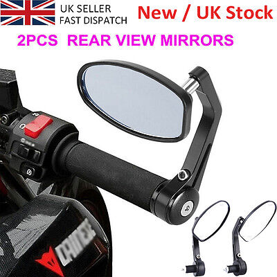 "1 Pair 7/8"" BLK Rear View Side Mirror Handle Bar End For Motorcycle Bike UK SALE"