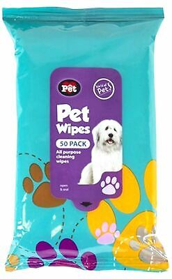 50 Pack Pet Hygiene Dog Puppy Cleaning Wet Wipes for Muddy Ears Paws Body Head