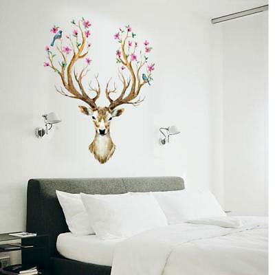 Wall Stickers Sika Deer Head Flowers Bird Kids Home Decor Mural DIY Decals WL