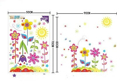 Flowers Sunshine 3D Window View Removable Wall Sticker Decal Room Decor WL
