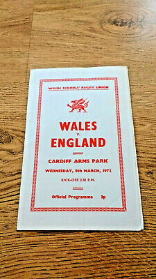 Wales Schools v England Schools 1972 Rugby Union Programme