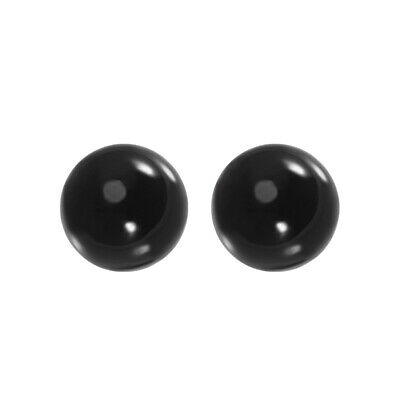 40mm Diameter Acrylic Ball Black Sphere Ornament 1.6 Inches 2 Pcs