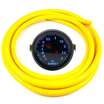 "52mm 2"" AGG-1 Smoked Turbo Boost Gauge -1 to 3 Bar Pressure Yellow Hose"