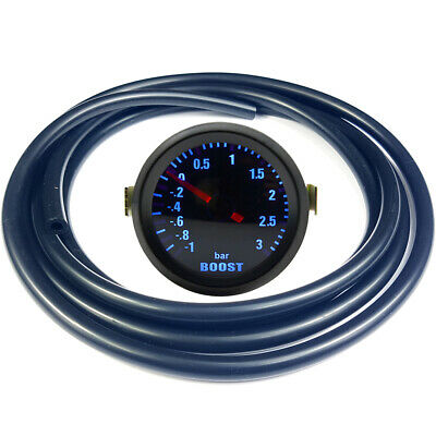 "52mm 2"" AGG-1 Smoked Turbo Boost Gauge -1 to 3 Bar Pressure Black Hose"