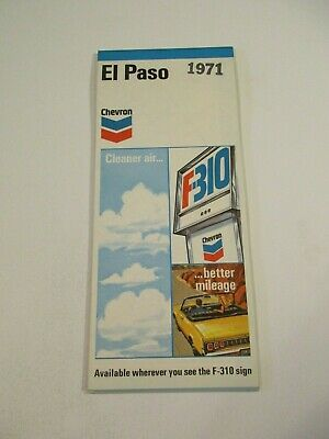 Stamped Chevron 1971 El Paso Texas City Street Gas Station Travel Road Map-BoxM3