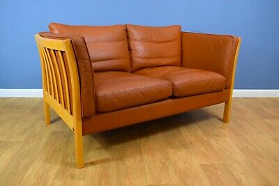 Mid Century Modern Retro Danish Stouby Tan Leather 2 Seat Sofa Settee