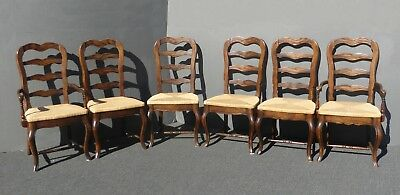 Six Vintage French Country Style Oak Ladder Back Dining Chairs Rush Seats