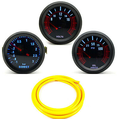 52mm AGG-1 Smoked Turbo Boost 3 Bar + Oil Pressure + Volt Gauge Yellow Hose