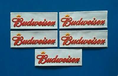 5  BUD BUDWEISER BEER Embroidered Iron Or Sewn On BREWERIANA Patches Free Ship