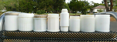 Antique Unique Collection Of Milk Glass Jars Hexagon X 8  Old Bottles ,.
