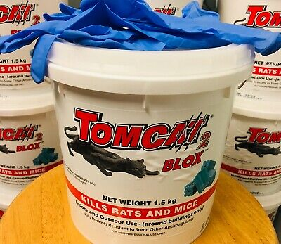 TOMCAT 2 RAT POISON BLOX Rodent Bait Mouse 1.5kg Tub Ready to Use Block + Gloves