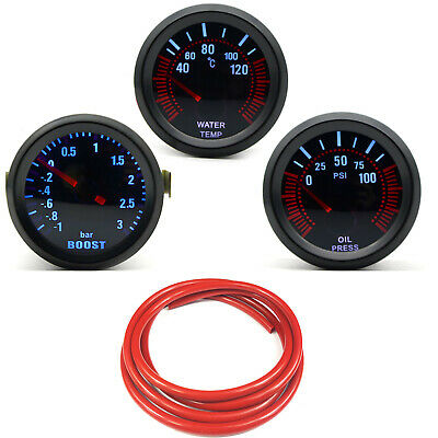 52mm AGG-1 Smoked Turbo Boost 3 Bar + Water Temp + Oil Pressure Red Hose