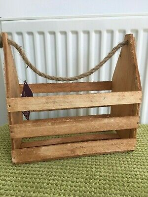 Vintage Rustic Shabby Chic Wooden Crate With Rope Handles