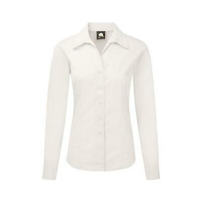 Ladies Womens Plain Long Sleeve Oxford Shirt Blouse Work Office Fitted Tailored