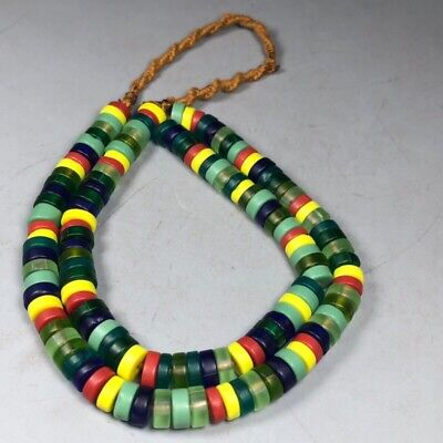 china Tibetan Buddhism old Colored glaze Colourful Necklace