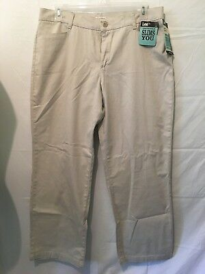 Lee Womens Pants Stretch Chinos Relaxed Fit Straight Leg Size 16 Short NWT