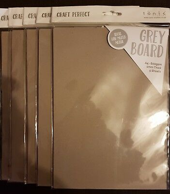 Craft perfect  Grey Board set of 5 pack of 5 sheets  A4 1mm thick