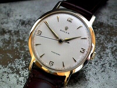 1954 Jumbo 36mm Solid 18ct Gold Rolex Precision Linen Dial Gents Vintage Watch