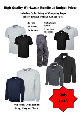 Workwear clothing Bundle, Embroidery, Knee pad trousers Polo T-shirt Softshell