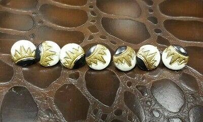 Set of 7 Small Antique Buttons Enamel & Gilt metal.