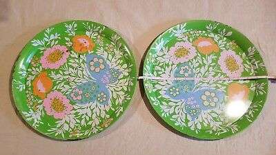 "1960s Vintage Metal Serving Tray Bright Flowers 14""  Groovy Fun Circle Retro"
