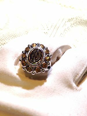 Vintage Genuine Smoky Topaz Real Citrine 925 Sterling Silver Ring