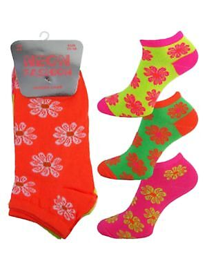 3 Girls Ladies Kids Neon Fashion Trainer Liner Socks / Floral / UK 4-6