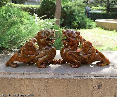 Palace Old Jade Stone Hand Carved Dragon Kylin Brave Troops PiXiu Beast Statue