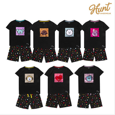 New Official BTS BT21 x Hunt Innerwear Spangle Top&Pants Pajamas Free shipping