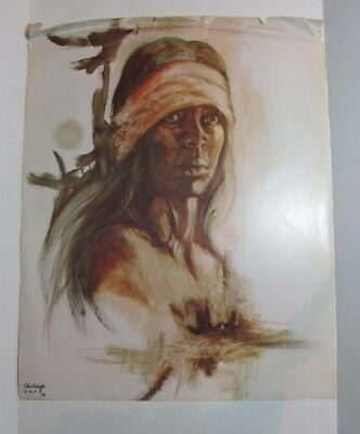 1974 Popo & Ruby Lee Print PROUD AMERICAN Native American Indian DAMAGED